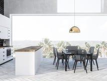 Panoramic kitchen interior, table vector illustration
