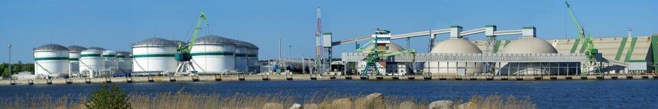 Panoramic Klaipeda port. Tank farm Royalty Free Stock Photography