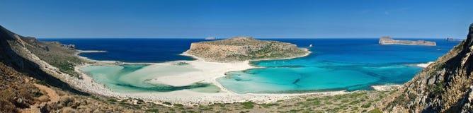 Panoramic Lagoon. Tropical panoramic image of a beautiful beach in the Balos bay Royalty Free Stock Photos