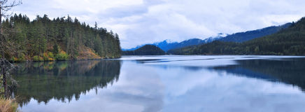 Panoramic on the lake. �This is the panoramic for national park and revelation lake from national iron horse park in cold full day royalty free stock photo