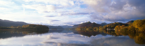 Panoramic Lake in Autumn Stock Images