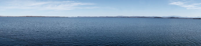 Panoramic of Lake Champlain Vermont Stock Photography