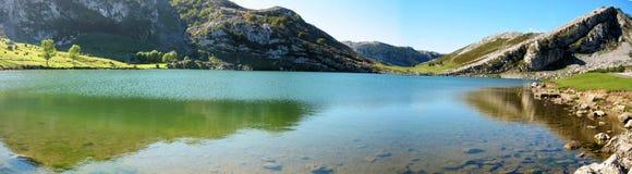 Panoramic Lake Enol. A panoramic view of Lake Enol in Asturias/Spain Royalty Free Stock Image