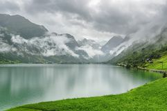 Panoramic of the Lake fro the Glacier royalty free stock photos
