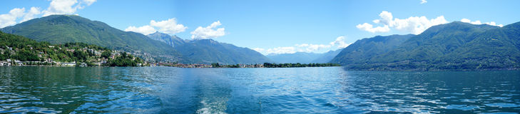Panoramic of the Lake Maggiore Stock Image