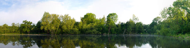 Panoramic Lake Pond With Trees and Reflection Royalty Free Stock Photos