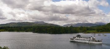 Panoramic of Lake Windermere with pleasure boat Stock Photography