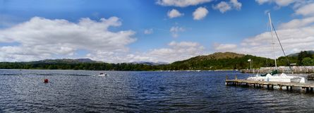 Panoramic of Lake Windermere with speedboat and pier Royalty Free Stock Images
