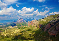 Panoramic landscape. Panoramic image of landscape with mountains,village and sky royalty free stock photos