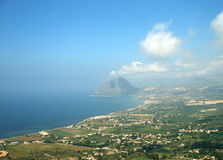 Panoramic landscape with aerial view. Sicily stock photo