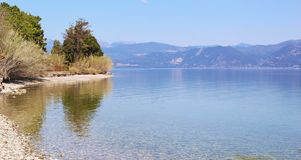 Panoramic landscape of Agio beach Achaia Peloponnese Greece. Greek summer destination royalty free stock image