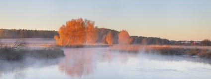 Panoramic landscape of autumn sunrise Royalty Free Stock Photos