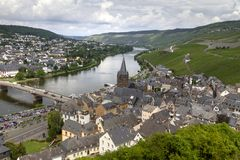 Panoramic landscape with autumn vineyards and small town. Mosel, Germany stock image