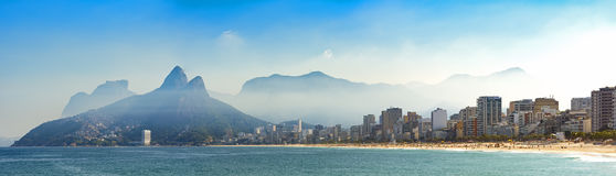 Panoramic landscape of the beaches of Arpoador, Ipanema and Leblon. In Rio de Janeiro with sky and the hill Two brothers, Vidigal, and Gavea stone in the Stock Photography