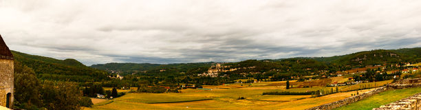 Panoramic landscape of Beynac et Cazenac France Royalty Free Stock Photos