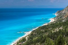 Panoramic landscape with blue waters, Lefkada, Ionian Islands, Greece stock image