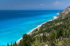 Panoramic landscape with blue waters, Lefkada, Greece. Panoramic landscape with blue waters, Lefkada, Ionian Islands, Greece Royalty Free Stock Images