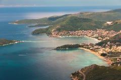 Panoramic landscape of Budva riviera in Montenegro. Balkans, Adriatic sea, Europe. Royalty Free Stock Images