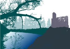 Panoramic landscape with castle, river and silhouettes of trees Royalty Free Stock Images