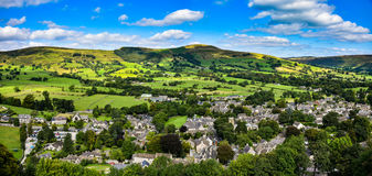 Panoramic landscape of castleton. View of panoramic landscape of castleton  taken from Peveril castle Stock Image