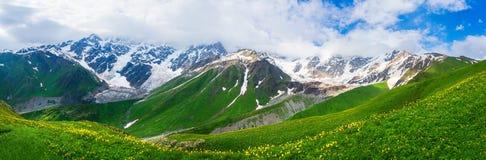 Panoramic landscape of Caucasus mountains stock image