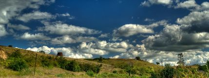 Panoramic landscape with clouds Stock Photos