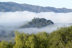 Panoramic landscape with clouds over green spring hills of Southern California, Ventura County, Oak View, CA Stock Images