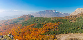 Panoramic landscape in Crimean mountains at fall season Stock Images