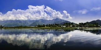 Panoramic landscape of Dal Lake, Srinagar, India. Beautiful panoramic landscape at Dal Lake, Srinagar, Kashmir, India Royalty Free Stock Images