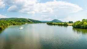 Panoramic landscape, Danube River and Walhalla memorial on the hill, tourism and famous places, Donaustauf, Germany, banner 16x9 f. Panoramic landscape, ship stock photos