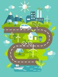 Panoramic landscape with ecology concept. Landscape with buildings, transport and nature ecology elements in flat style Royalty Free Stock Photo