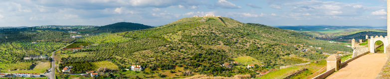 Panoramic landscape of Elvas with View of the Fortress of Nossa. Senhora da Graca , Portugal royalty free stock photography