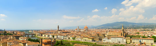 Panoramic landscape of Florence city with Florence Cathedral Stock Photo