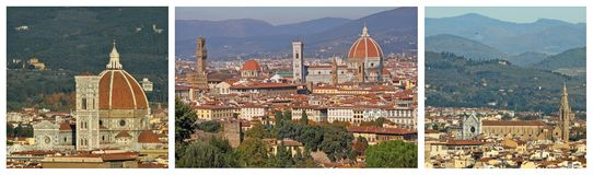 Panoramic landscape of Florence collage Royalty Free Stock Images
