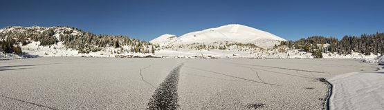 Panoramic Landscape Frozen Three Isle Lake Snowy Mountains Banff National Park stock image