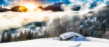 Panoramic landscape of hermitage. In the snow Royalty Free Stock Image