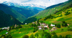 Panoramic landscape of Ieli village in Svaneti Royalty Free Stock Photos