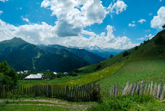 Panoramic landscape of Ieli village in Svaneti Stock Images