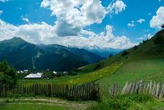 Panoramic landscape of Ieli village in Svaneti Stock Images