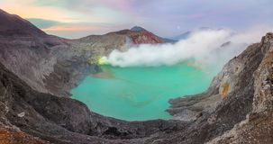 Panoramic landscape of Kawah Ijen at Sunrise, Java, Indonesia royalty free stock photo