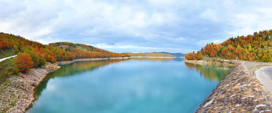 Panoramic landscape of lake Plastira Karditsa Greece Royalty Free Stock Photo