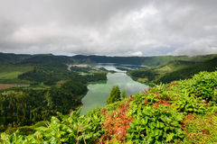 Panoramic landscape of lake Sete Cidades lagoon in Azores. Royalty Free Stock Photo