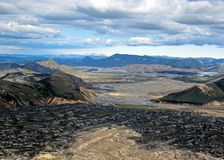 Panoramic view on scenic highland area of Landmannalaugar geothermal area, Fjallabak Nature Reserve in Central Iceland royalty free stock photography