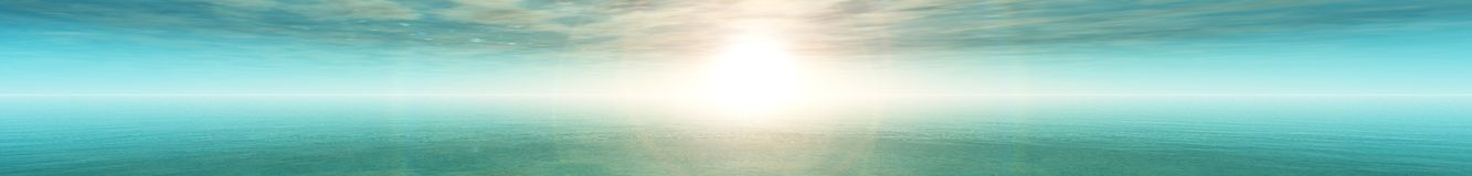 Panoramic landscape the light over the ocean Royalty Free Stock Image