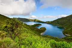 Panoramic landscape of lLagoa do Fogo in Azores. Royalty Free Stock Photos