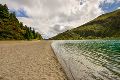 Panoramic landscape of lLagoa do Fogo in Azores. Royalty Free Stock Photo