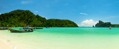 Panoramic landscape of Loh Dalam bay at Phi Phi island Royalty Free Stock Photo