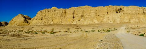 Panoramic landscape and Marlstone rock formation. Near Neot HaKikar, northern Arava valley, south of the Dead Sea, Southern Israel Stock Image