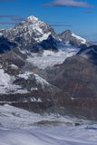 Panoramic landscape from matterhorn glacier paradise Swiss Alps Royalty Free Stock Image