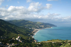 Panoramic landscape of the Mediterranean Sea Stock Photos